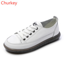 Women Leather Shoes Fashion Casual Sports Lightweight Lace-up Vulcanized 35-44