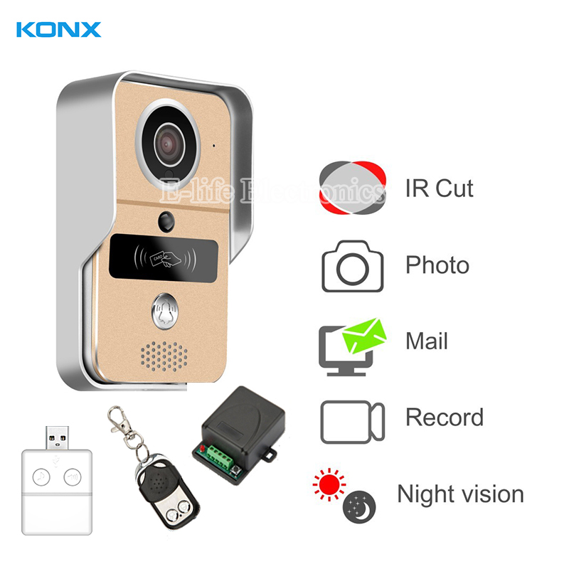 KONX Smart Home 720 WiFi IP Video Door phone intercom Doorbell Wireless Unlock Peephole Camera Doorbell Viewer 220V IOS Android d114b smart home 1v2 wireless intercom one to two video door phone 2 4g digital pir detection video door peephole camera