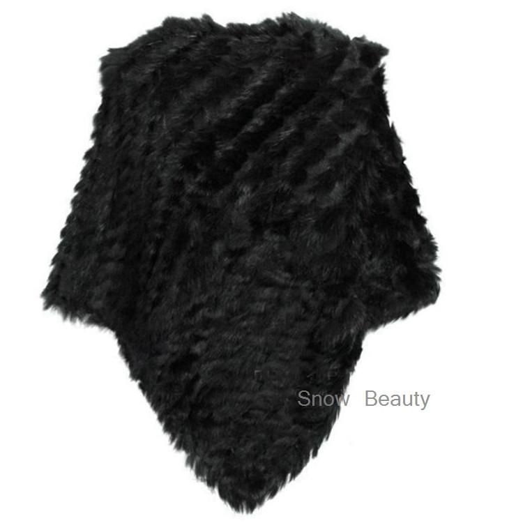 natural real knitted rabbit fur poncho shawl (5)