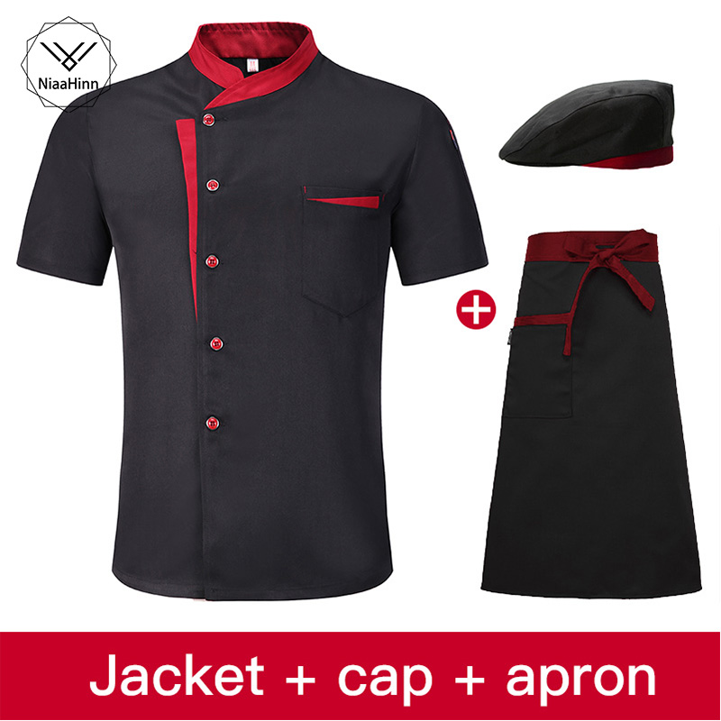 Men Women Short Sleeve Breathable Chef Jacket Catering Restaurant Summer Kitchen Work Uniform Cook Clothes For Bakery Chefs Hat