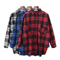 2017 Spring New Brand Fashion Plaid Women Blouses Shirt Long Sleeve Turn Down Collar Pockets Loose Hot Sale Shirt Lq513