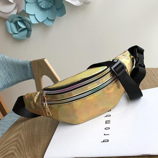 Women's Fashion Waist Packs Personalized Rock and Roll Color PU Leather Flashing Lattice Belt Bag Nerka Fanny Pack 4