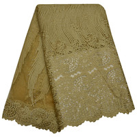 Embroidery French Lace Fabric With Stones Gold Color African French Lace Materials Nigerian Quality Tulle Mesh
