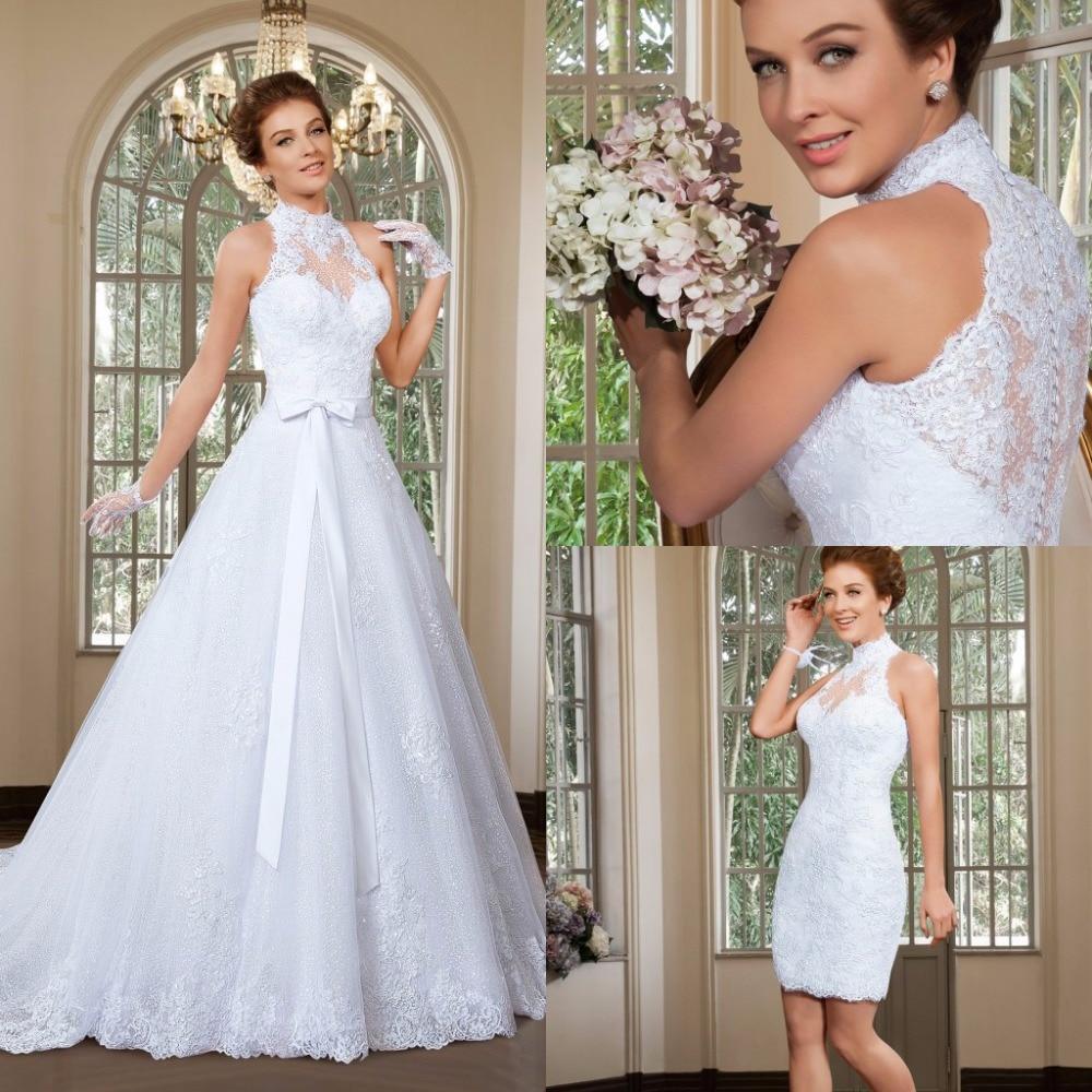 2015 elegant a line high neck wedding dress detachable for A line skirt wedding dress