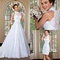 2015 elegante A linha de alta pescoço vestido de casamento destacável saia vestidos de vestidos de noiva vestido de noiva