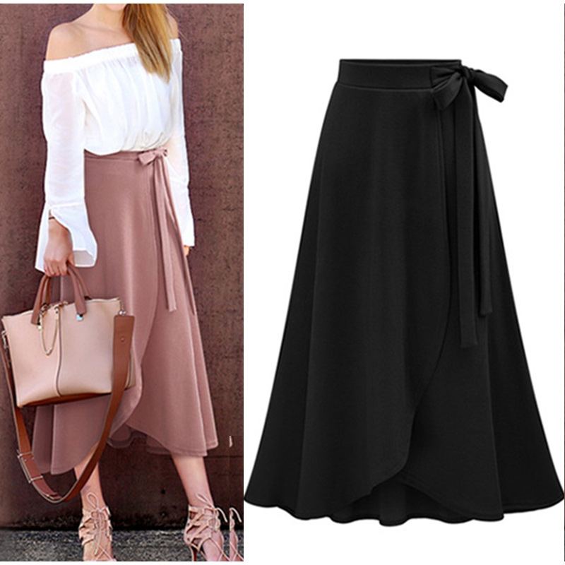 Plus Size Stylish Designed Women's Autumn Asymmetric Slit Solid-color Wrap Long Skirt Lady Daily Casual Bandage Midi Skirt M-6XL 7