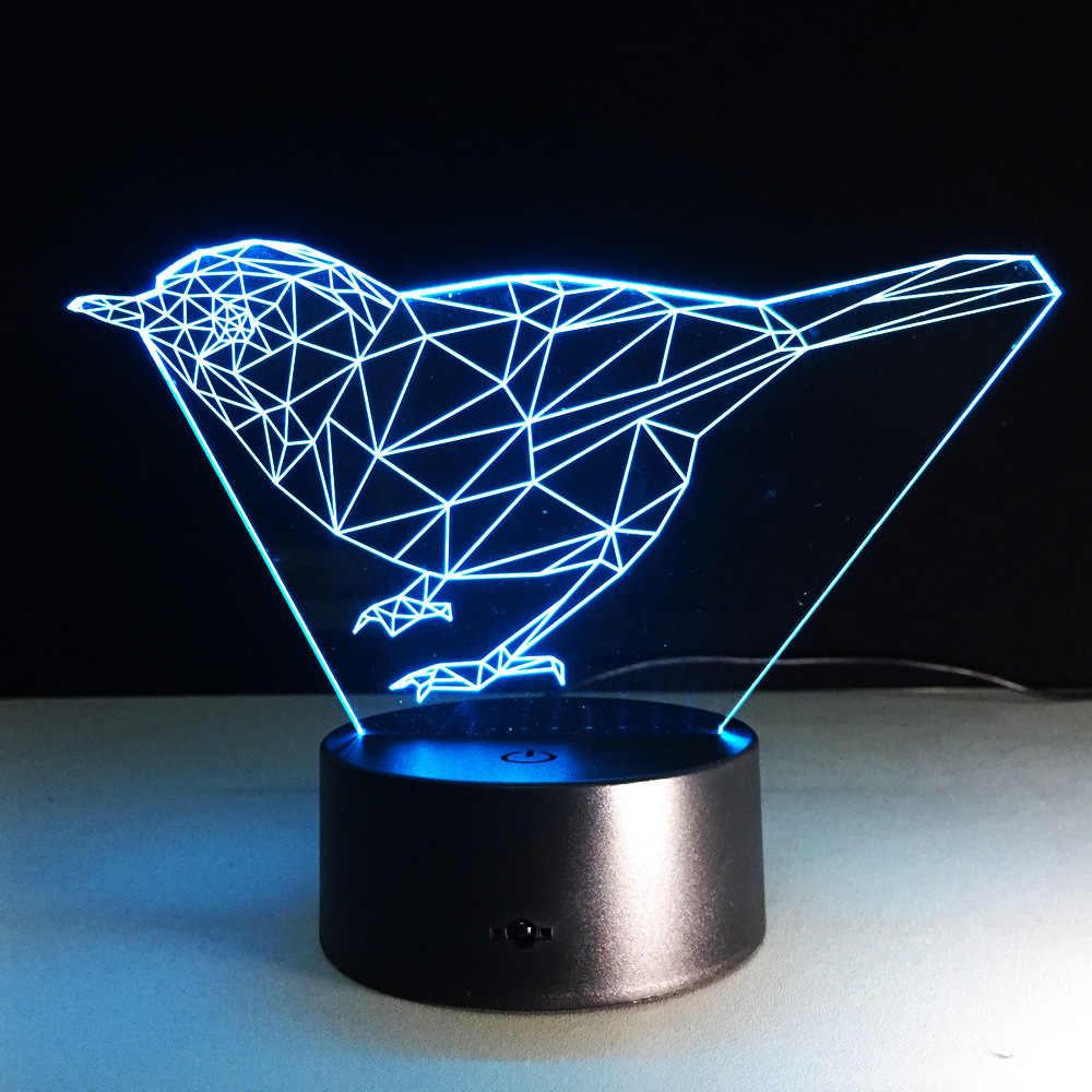 New Birds 3d Lights Led Colorful Gradient Art Table Lamps Wholesale Novelty Usb Led Night Light Powerbank Kids Desk Lamp
