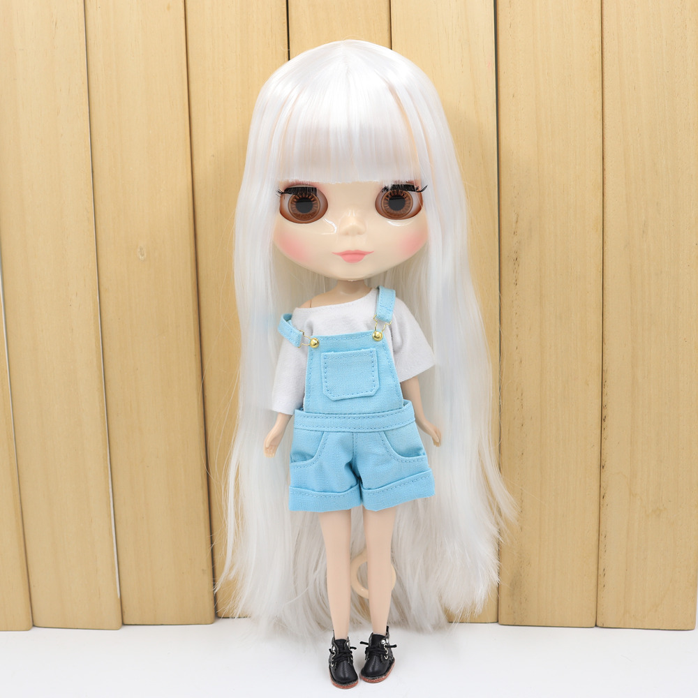 Blyth Nude Doll with Long White Bangs Hair and 1/6 Toy BJD
