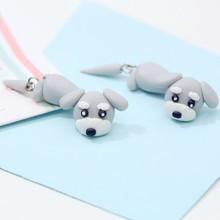 Fashion Summer Style Handmade Polymer Grey Dog Stud Earring