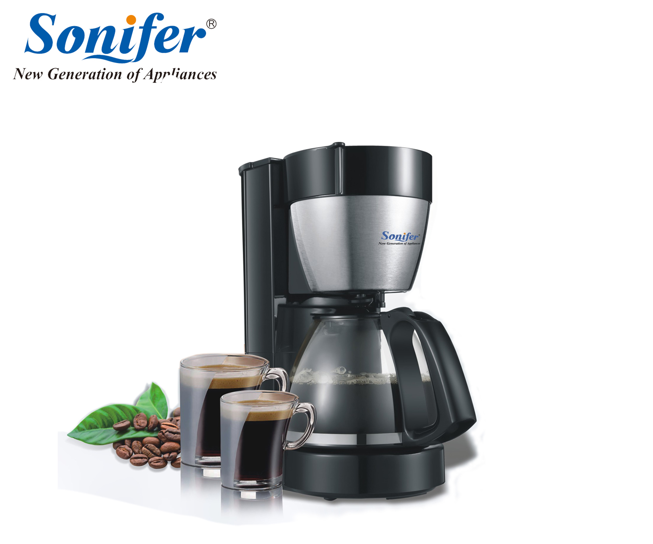 1.25L Electric Drip Coffee Maker household large coffee machine 12 cup tea coffee pot 220V Sonifer coffee pattern coffee tea 6 in 1 pot cup set brown