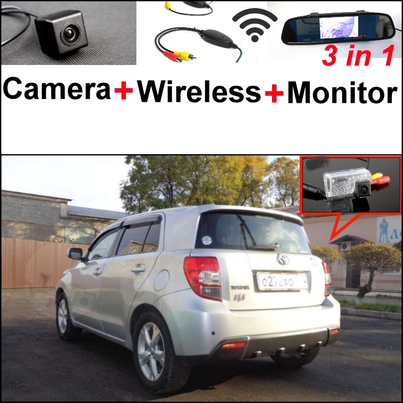 For TOYOTA ist Urban Cruiser 3 in1 Special Rear View Camera + Wireless Receiver + Mirror Monitor Easy DIY Back Up Parking System