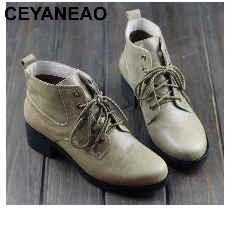 CEYANEAO Women's Boots Winter Shoes 100% Authentic Leather Ladies Ankle Boots Plain Toe Lace up Female Winter Boots (737-2) chic pu plain lace up mens winter boots