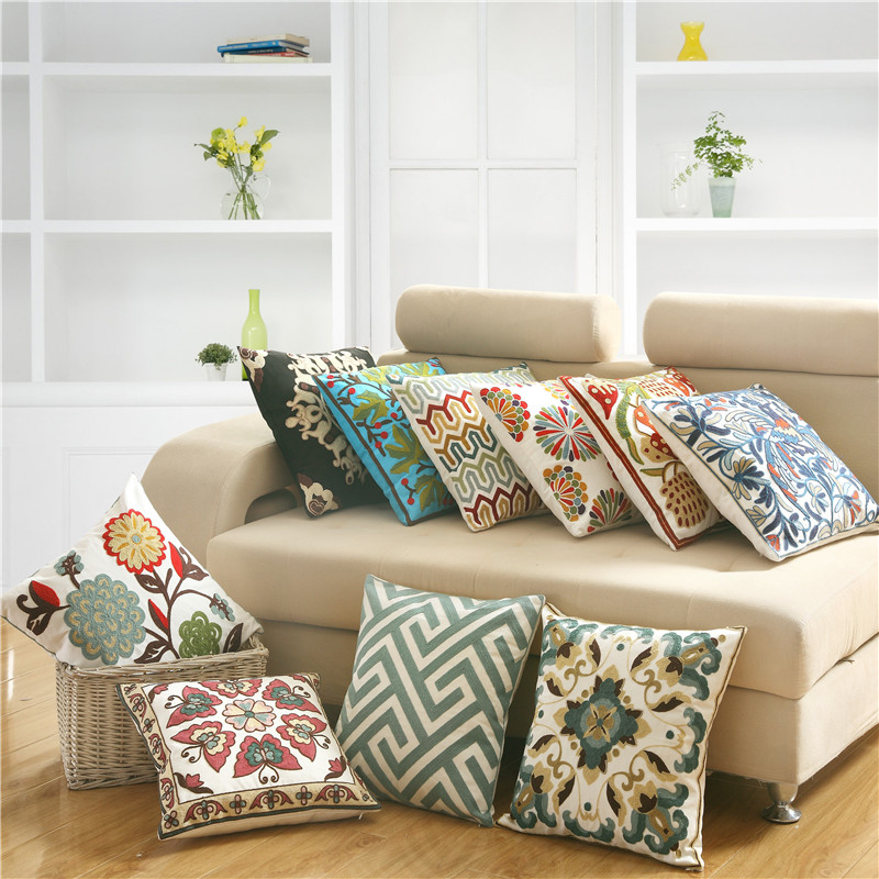 SunnyRain 1-Piece Butterfly Decorative Cushion Covers embroidered Linen Cotton Printed Cushion Cover Square Pillow Cover