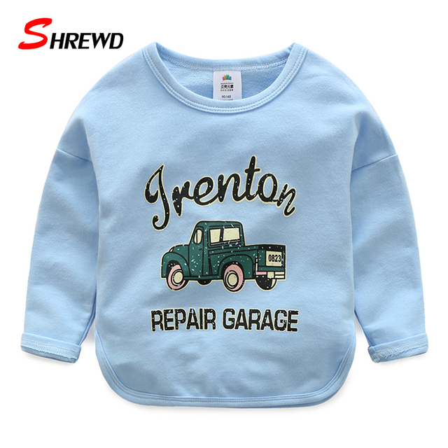 T Shirt For Children Spring New 2017 Casual Simple Pattern Car Boys Tshirts O-neck Long Sleeve Kids Clothes 4944W