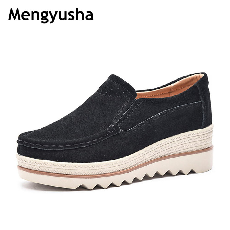 2018 Spring women flats shoes sneakers shoes   leather     suede   casual shoes slip on flats heels creepers moccasins