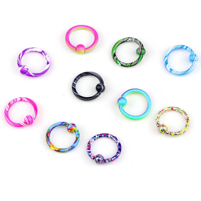 10pcs Medical Stainless Steel Colorful Nose Hoop Nose Rings Clip