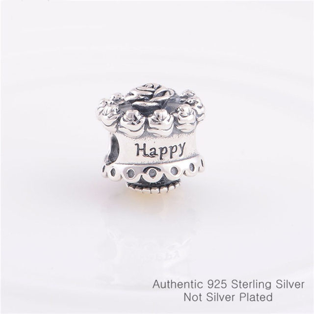 Pandulaso Happy Birthday Flower Cake Silver Beads for Jewelry Making