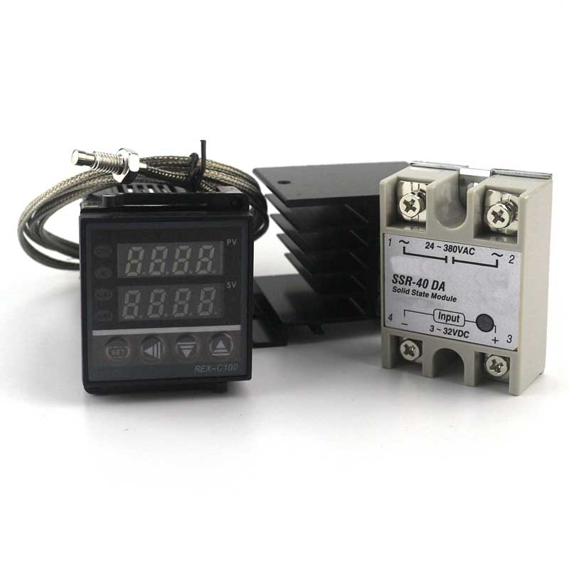 REX-C100 0-400Celsius Digital 100V- 240V AC PID Temperature Controller with SSR 40A with 2m K Probe with heat sink цена
