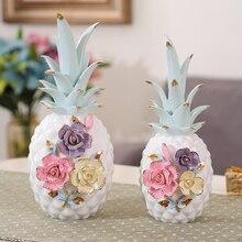 Modern Stereoscopic Flowers Creative Ceramic Pineapple Ornament Living Room Restaurant Wine Cabinet Decor Ornaments home decor