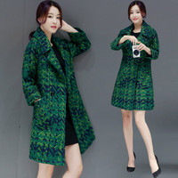 High Quality Wool Coat Women Slim Medium long Tweed Jacket Fashion Female Outwear Green Coat Brand Women Jacket 7