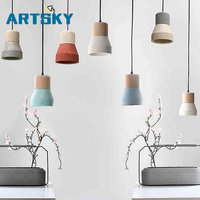 American Country Style Cement Pendant Lights 120cm Wire E27 Socket Pendant Lamp Wood Indoor Decoration Hanging