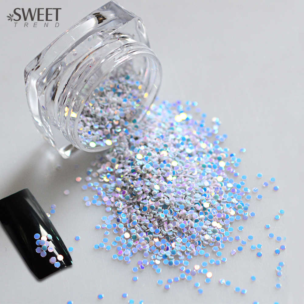 SWEET TREND 1 Bottle Light Blue Sparkly 3D Nail Glitter Tips Nail Mini Round Decoration Stickers Manicure Tips LAY02