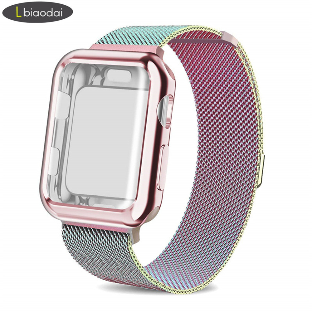Case+strap for Apple Watch 5 4 band 44mm 40mm iWatch band 42mm 38mm Stainless Steel bracelet Milanese Loop Apple watch 3 2 42/38 image