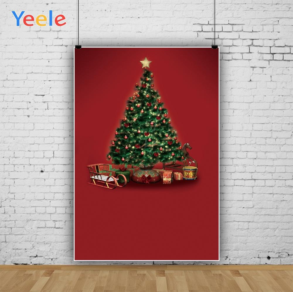 Yeele Professional Photography Backdrops Christmas Trees Red Curtain Baby Carriage Kid Photographic Backgrounds For Photo Studio
