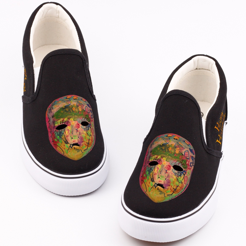 E-LOV Customized Halloween Party Flat Canvas Shoes Hip Hop Monsters Mask Printed Witch Casual Loafers Adults Women Shoes printed assassins creed canvas shoes fashion design hip hop streetwear unisex casual shoes graffiti women flat shoe sapatos