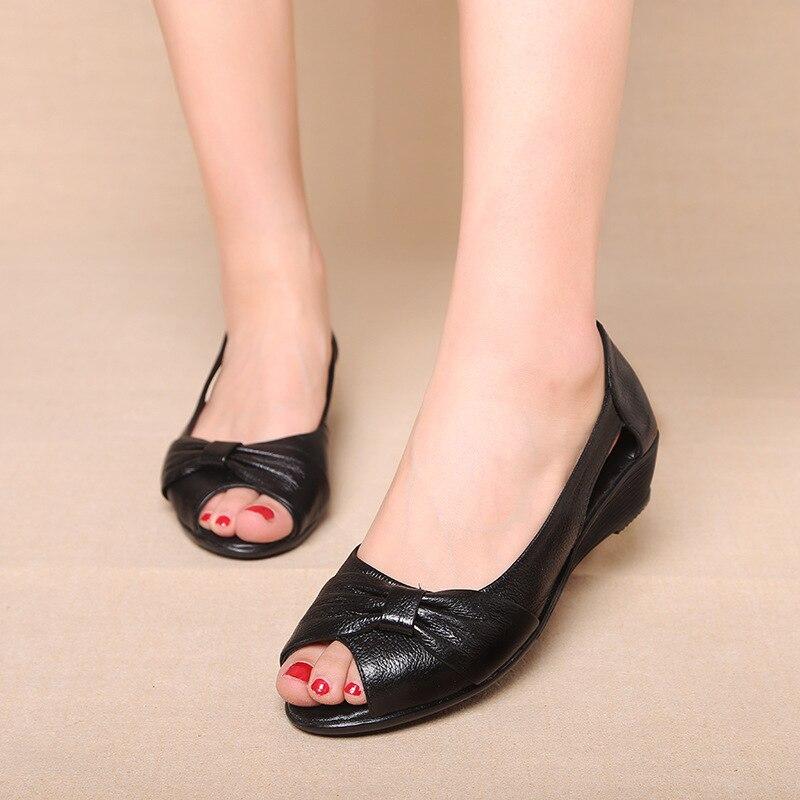 Women Shoes Summer Fashion Genuine Leather Woman Sandals Plus Size Ladies Flats Sandals Female Sandals