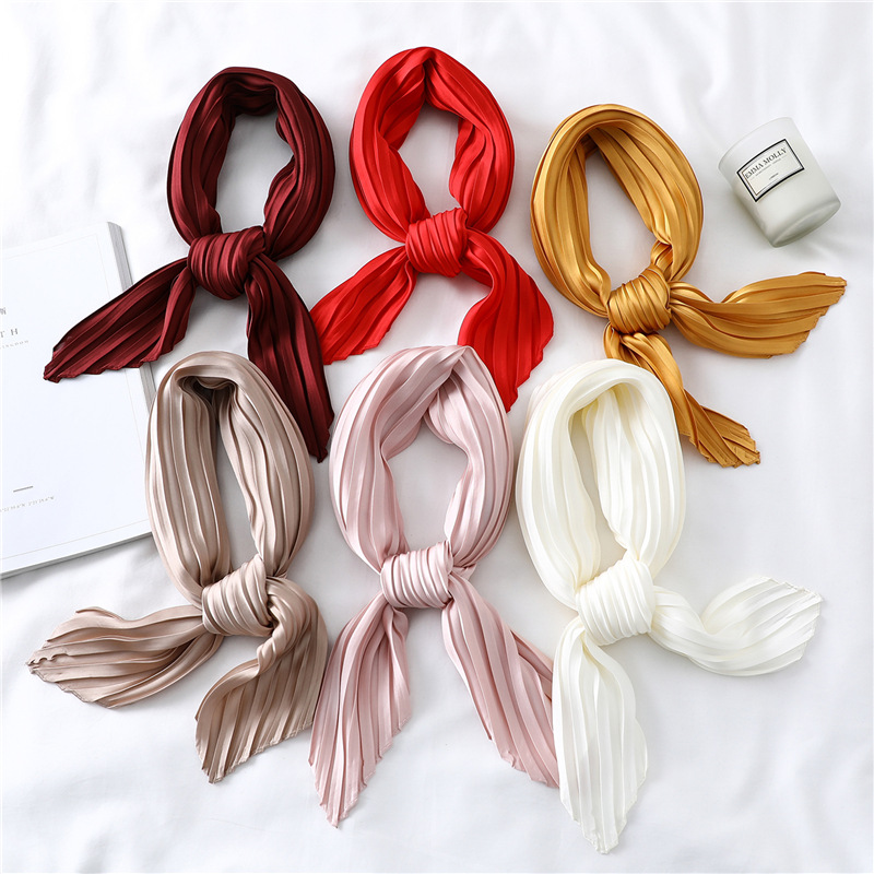 Women's Small Silk Square Scarf Crinkle Hair Scarfs For Ladies Summer Pleated Scarves Solid Female Foulard Neckerchief 100*30CM