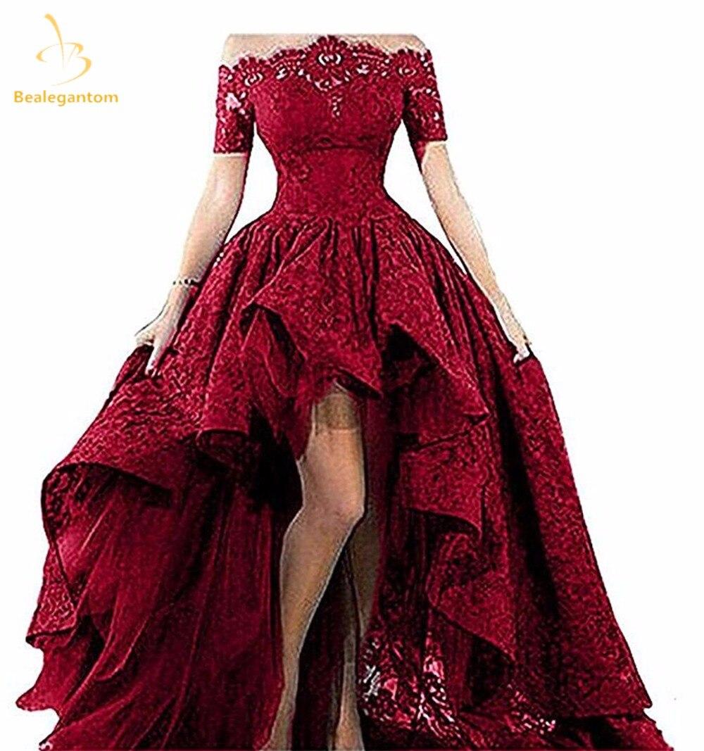 Bealegantom שחור תחרה סטרפלס את כתף קצר שרוולים גבוהים נמוכה נשף 2018 שמלות הערב Vestido לונגו QA1224