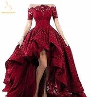 Bealegantom Black Lace Strapless Off The Shoulder Short Sleeves High Low Prom Dresses 2018 Evening Gowns Vestido Longo QA1224