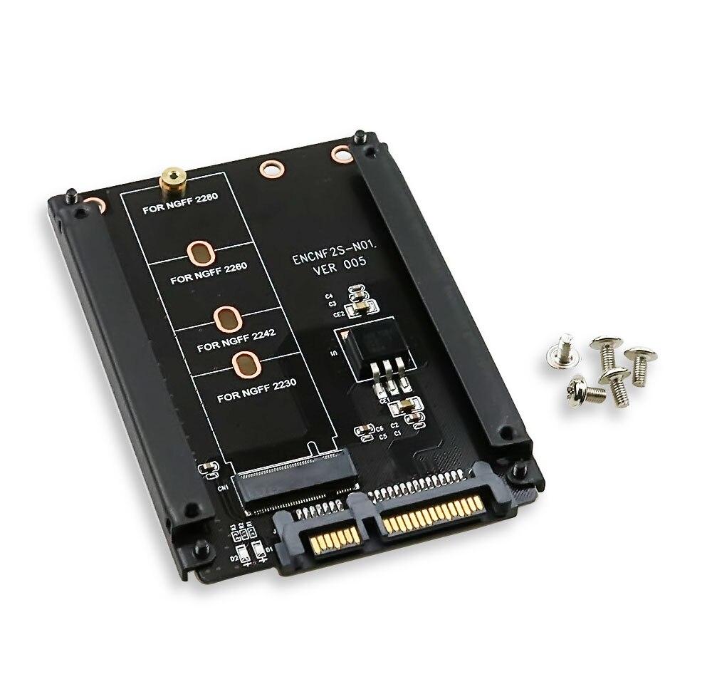 Boîtier métallique B + M Key M.2 NGFF SSD à 2.5 SATA 6 Gb/s carte adaptateur avec boîtier prise M2 NGFF adaptateur avec 5 vis