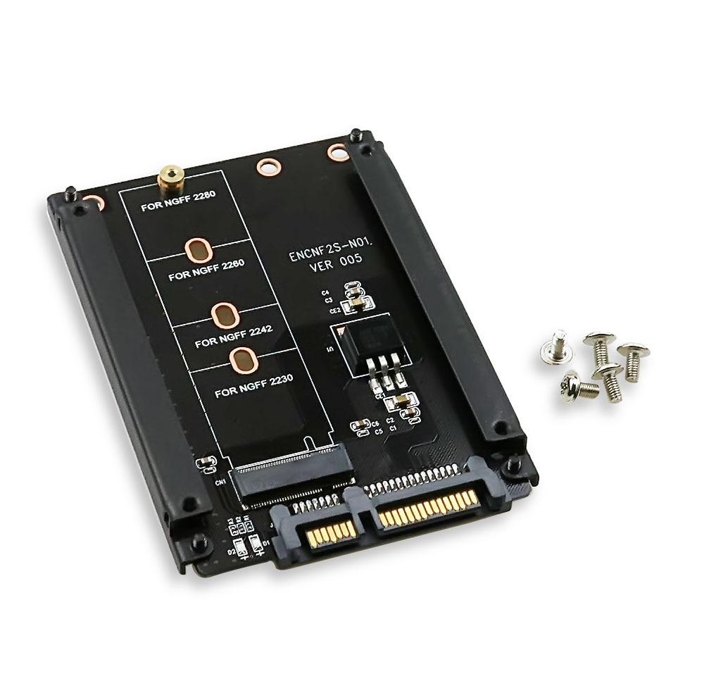 Caja de Metal clave B + M M.2 NGFF SSD 2,5 SATA 6 Gb/s tarjeta de adaptador con carcasa hembra M2 adaptador ngff con tornillo