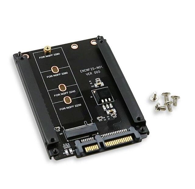 Kim loại Trường Hợp B + M Key M.2 NGFF SSD Đến 2.5 SATA 6 Gb/giây Adapter Thẻ Với Bao Vây Ổ Cắm M2 NGFF Adapter Với 5 Vít