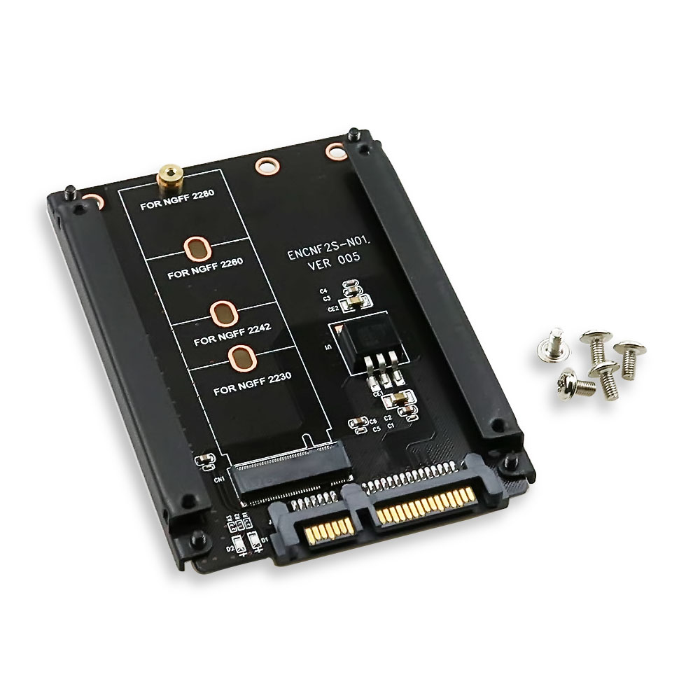 Metal Case B+M Key M.2 NGFF <font><b>SSD</b></font> To 2.5 SATA 6Gb/s <font><b>Adapter</b></font> Card With Enclosure Socket <font><b>M2</b></font> NGFF <font><b>Adapter</b></font> With 5 Screw image