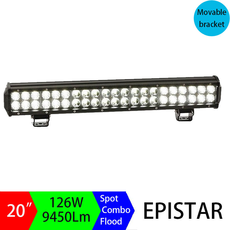 20 inch 126W LED Light Bar Combo Spot Flood Beam Off-road 12v 24v For Offroad Truck Tractor Trailer Motor Work Working Driving spot flood combo 72w led working lights 12v 72w light bar ip67 for tractor truck trailer off roads 4x4 led work light