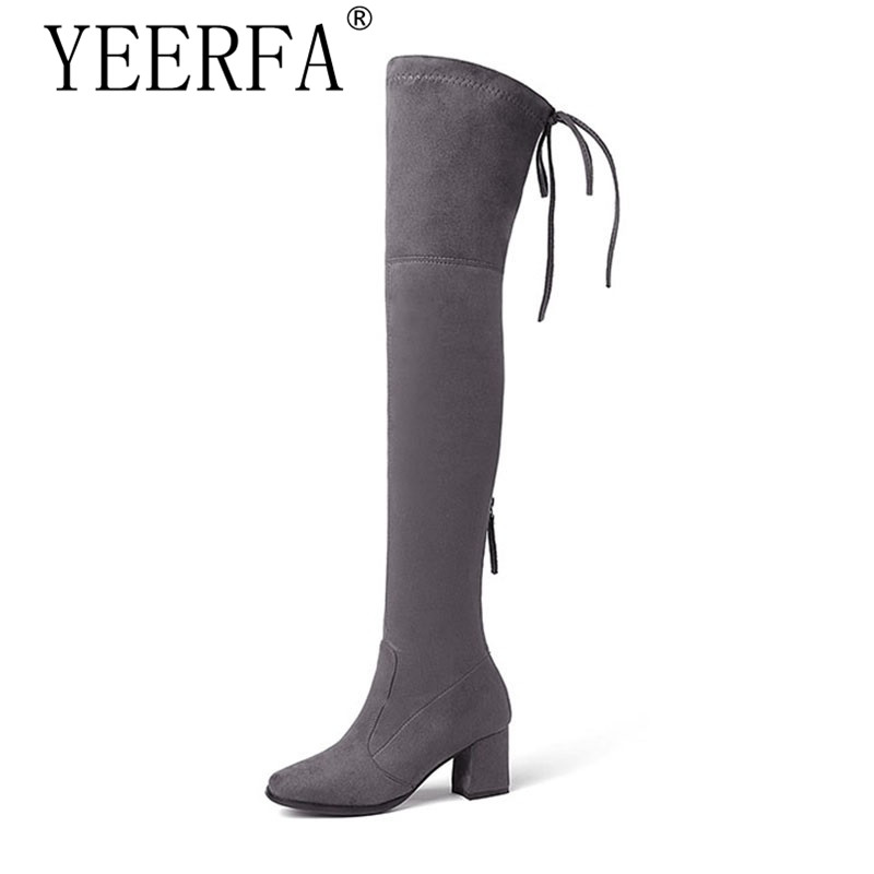 Newest Model Lady Over the Knee Boot Zipper Stretch Fabric Long Boot Thick High Heel Woman Shoes Winter Big Size 34-43