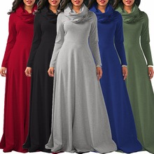 Women Long Sleeve Bow Casual Loose Dress Black/Red/Green/Wine/Blue Autumn Winter Plus Size S-2XL Long Dresses Longo Vestidos