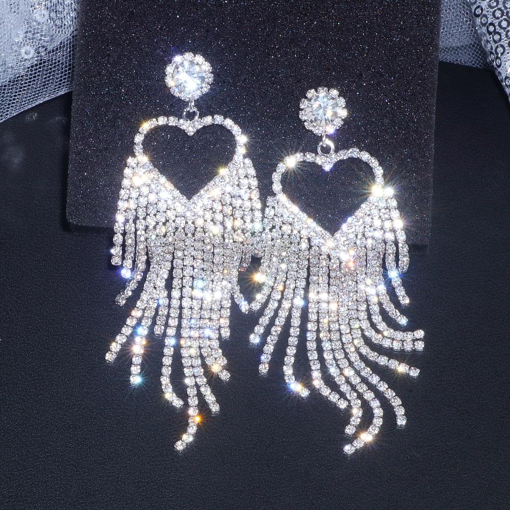 Bridal Bridesmaid Silver Crystal Rhinestone Shiny Heart Tassel Dangle Earrings