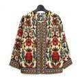 Vintage Куртка Женщин Весна Осень Верхняя Одежда Женщин Этническая Цветочный Печати Вышитые Три Четверти Молния Короткая Куртка
