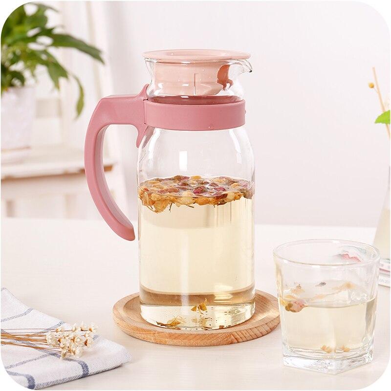 Hot Large-capacity cold water cooler pot teapot transparent glass fruit juice drink pot home high temperature explosion-proof