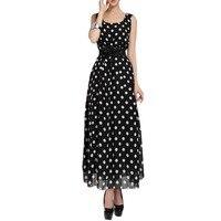 Fashion Women Chiffon Polka Dot Long Sleeveless Maxi Party Dress Gown Plus Size