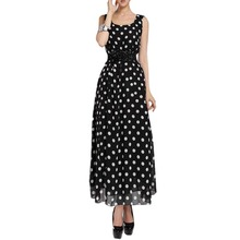 Women Maxi Fashion polka dots Maxi dress long Casual Summer Beach Chiffon Party Dresses style cheap vestidos de festa(China)