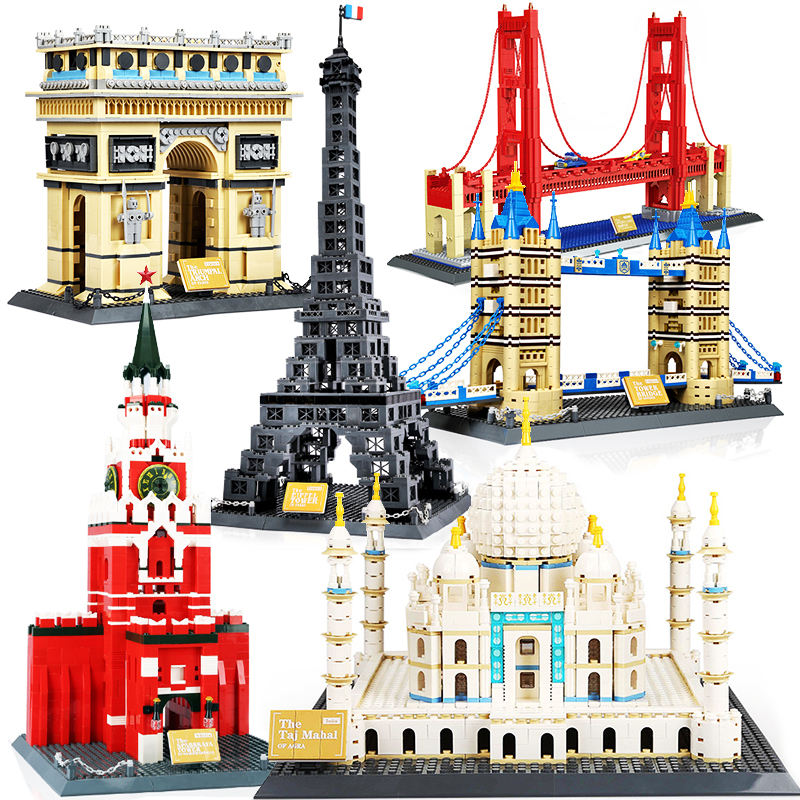 Wange City Architecture Taj Mahal Eiffel Tower Louvre Pair London Bridge Russia New York Model Building Blocks Construction toys(China)