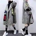 Осень и Зима Новый Приход Корейских Женщин Плюс Размер Свитера Свободные Шерстяные Кардиганы Долго Дизайн Трикотажные Свитера Большой Размер