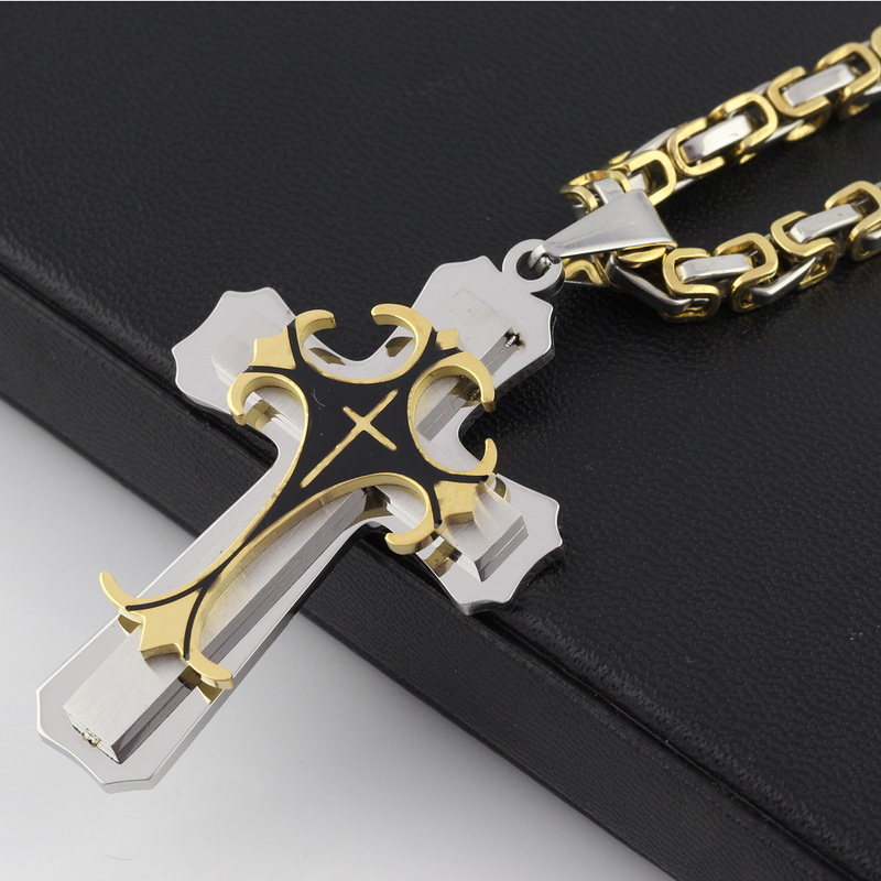 High quality 2 Layer <font><b>Cross</b></font> Mens Stainless Steel Pendant Necklace China pendant jewelry Suppliers
