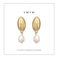 YMYW Fashion Natural Pearls Shell Drop Dangle Trendy Golden Silver Zinc Alloy Metal Earrings boucle doreille femme 2019 Bijoux
