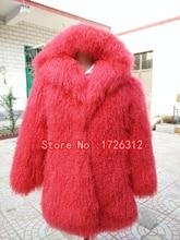 2017 модные пляжные шерсть полная кожа Длинный дизайн пальто Монголия овец пальто с мехом пальто Верхняя одежда куртка женщин с капюшоном женские